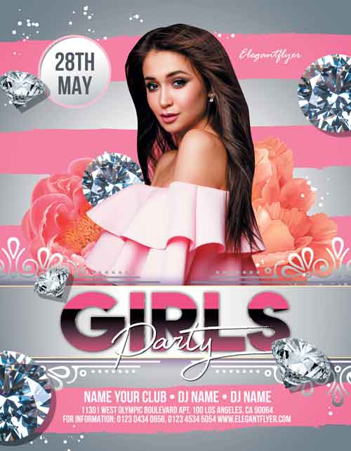 Girls Party Free Flyer PSD Template