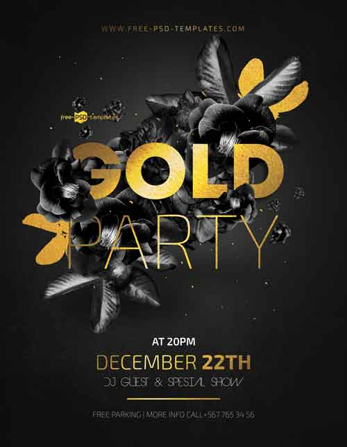 Gold Night Party Free Flyer Template
