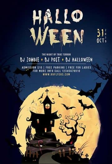 Halloween Club Party Free Flyer Template