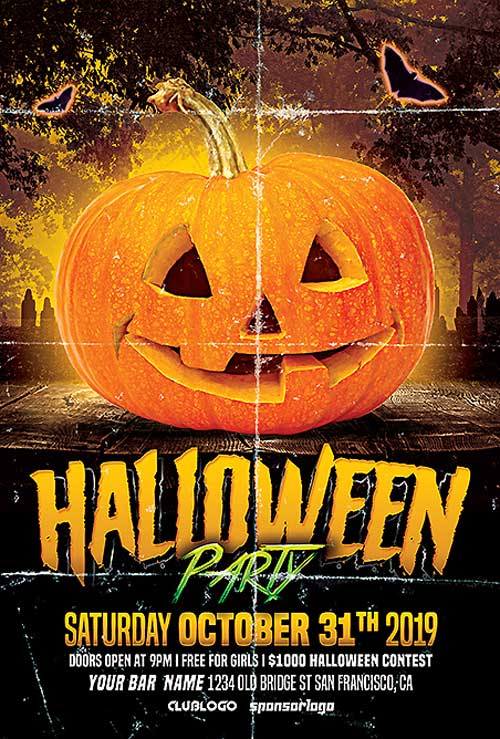 Halloween Club Party Free PSD Flyer Template