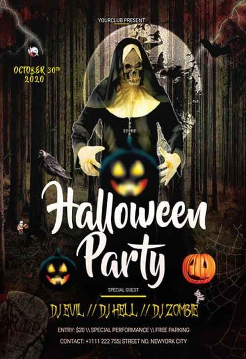 Halloween Free Party PSD Flyer Template - PSD | FreePSDFlyer