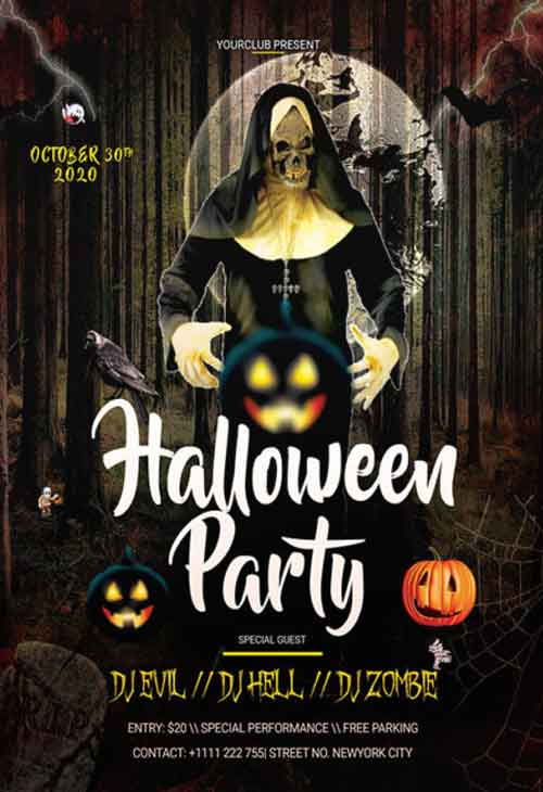 Halloween Free Party PSD Flyer Template
