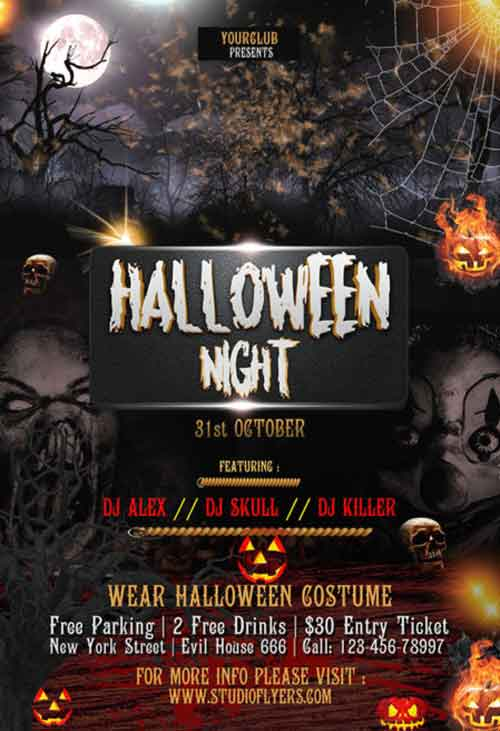 Halloween Night Event Free Flyer PSD Template