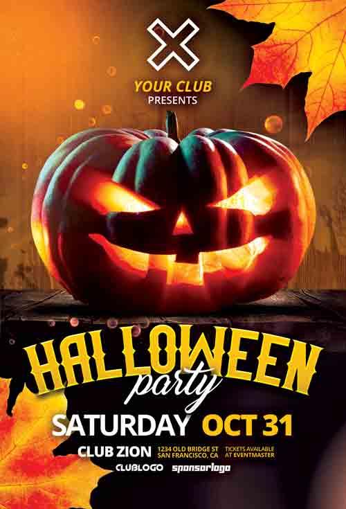 Halloween Pumpkin Party Free PSD Flyer Template