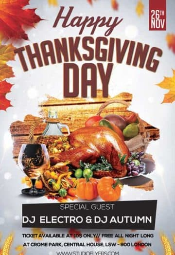 Happy Thanksgiving Day Free PSD Flyer Template