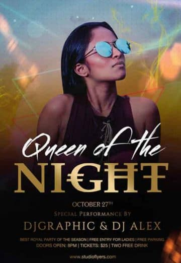 Queen Of The Night Free Flyer Template