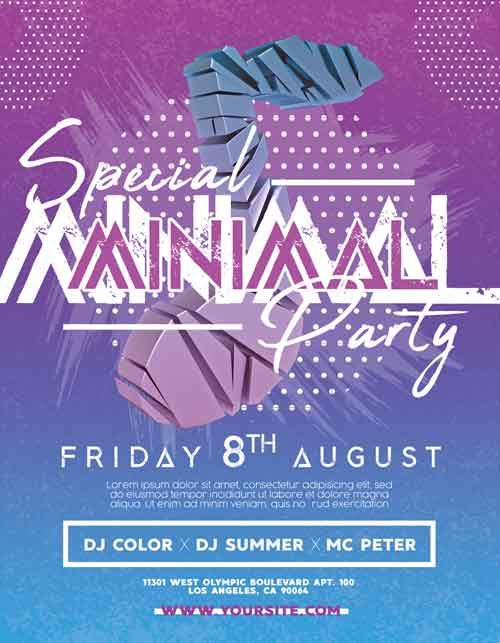 Special Minimal Party Free Flyer PSD Template