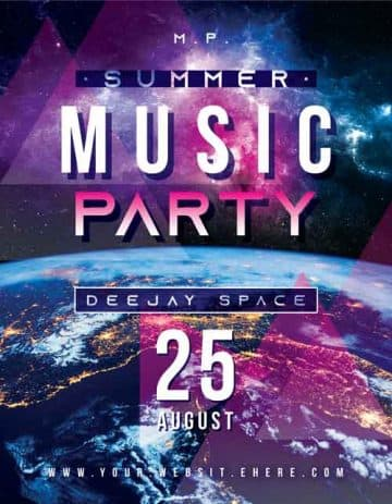 Summer Music Party Free Flyer Template