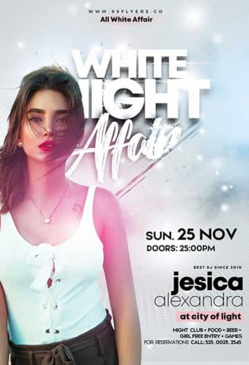 White Night Affair Party Free Flyer Template