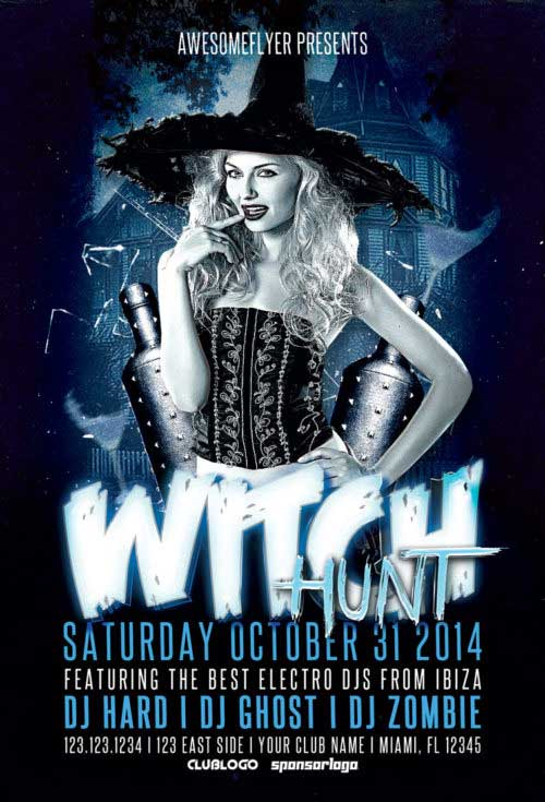 Witch Hunt Halloween Party Free Flyer Template