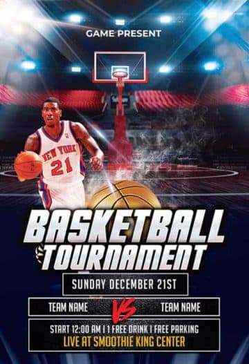 Basketball Tournament Free Flyer Template