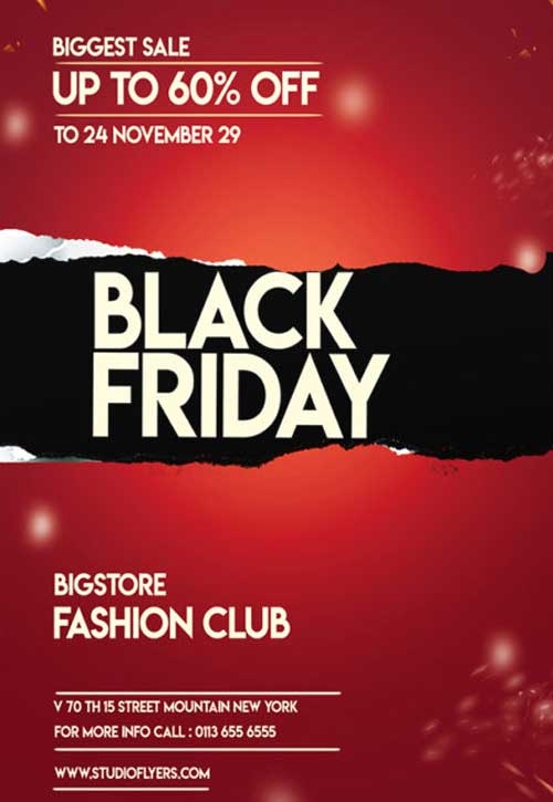 Black Friday Discount Free Sale Flyer PSD Template