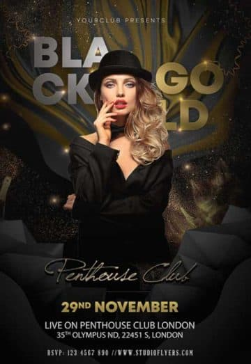 Black Gold Night Free Flyer Template
