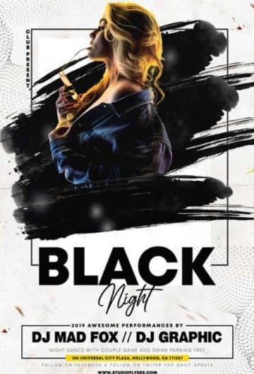 Black Night Free Flyer Template