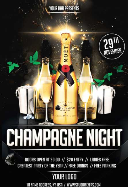 Champagne Night Free Flyer Template