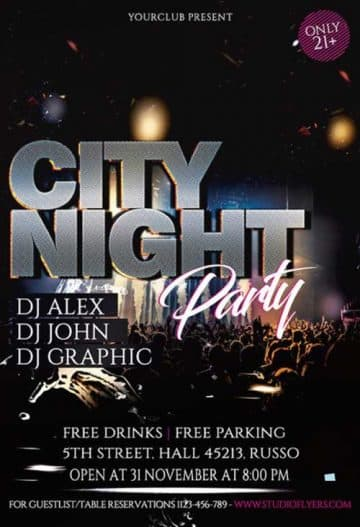 City Night Club Free Flyer PSD Template