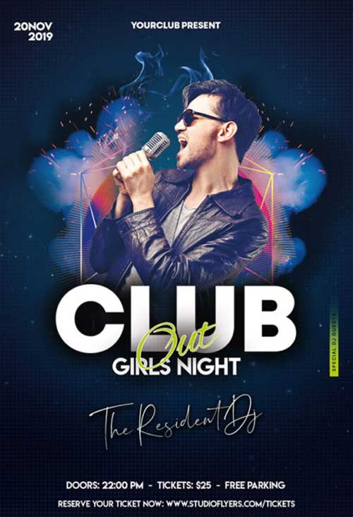 Club Night Out Free Flyer Template