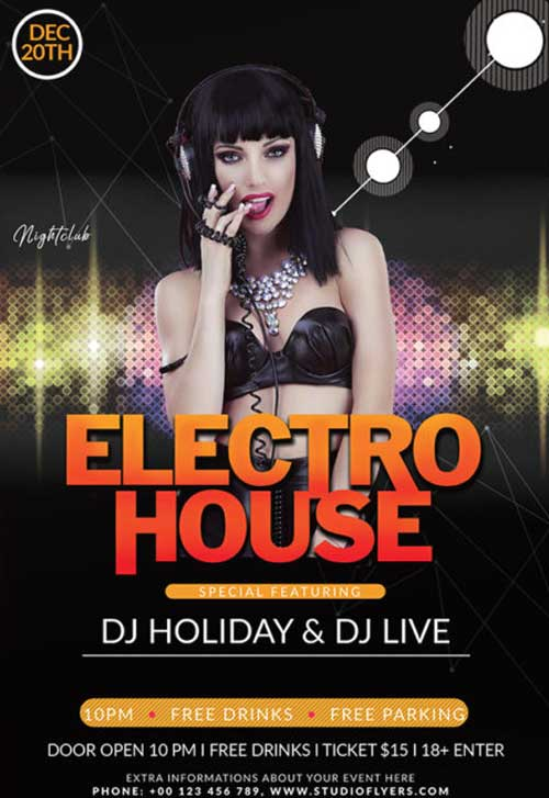 Electro House Club Night Free Flyer Template