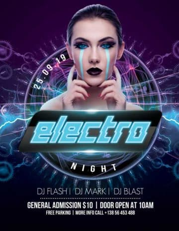 Electro Night Party Free PSD Flyer Template