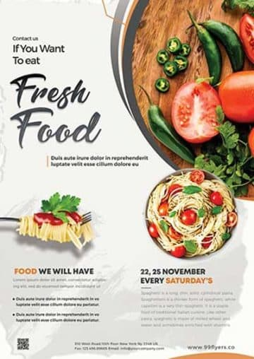 Fresh Food Free Restaurant Flyer PSD Template