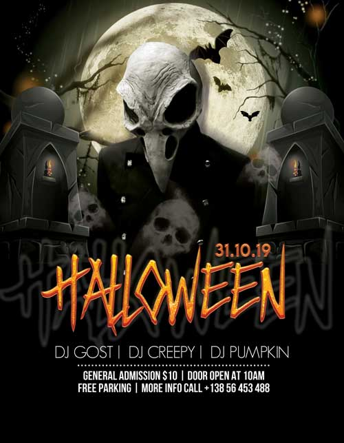 Halloween Club Party Event Free Flyer Template