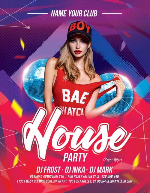 House Party Night Free Flyer Template