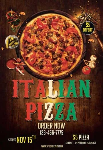 Italian Pizza Free Flyer Template