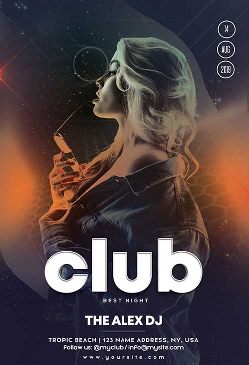 Live Club DJ Party Free Flyer Template