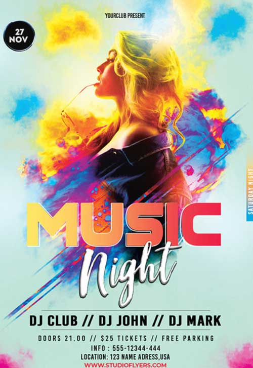 Music Night Free Club Flyer Template