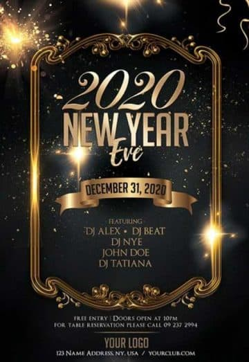 New Year Eve 2020 Free Flyer Template