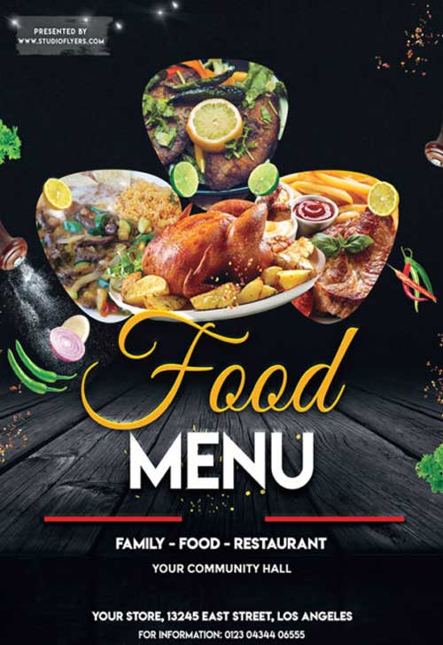restaurant specials free flyer psd template