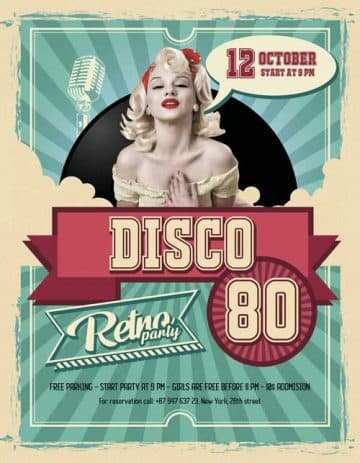 Retro Party Night Free Flyer Template
