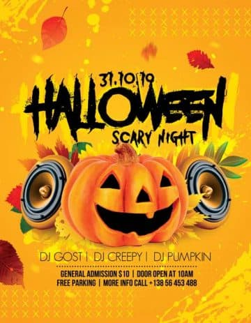 Scary Halloween Night Party Free Flyer Template