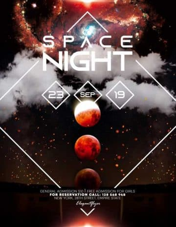Space Night Party Free Flyer Template