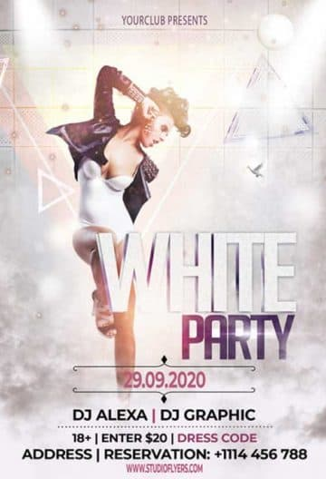 White Party Free Club Flyer Template