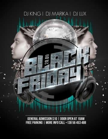Black Friday Club Party Free Flyer Template
