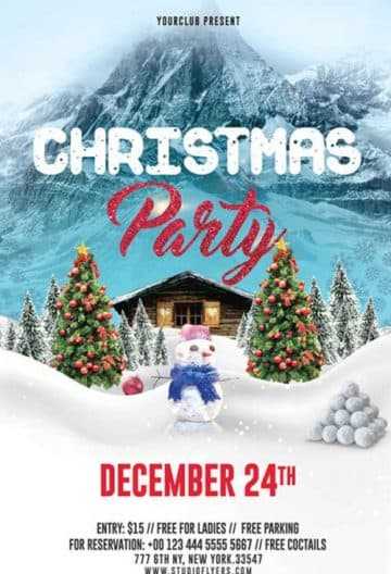 Christmas Cabin Party Free Flyer Template