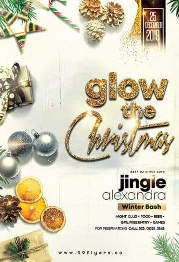 Christmas Glow Party Free Flyer Template
