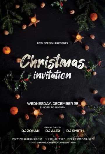 Christmas Invitation Free Party Flyer Template