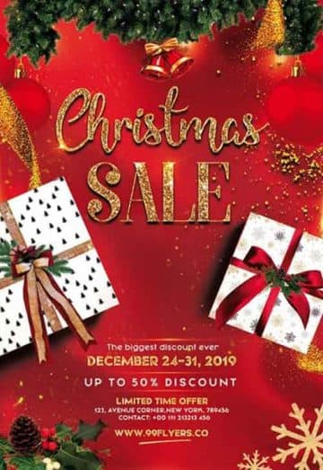 Christmas Sale Event Free Flyer Template