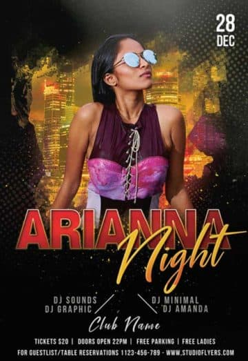 DJ Arianna Night Party Free Flyer Template
