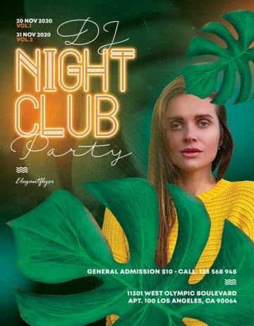 DJ Night Club Party Free Flyer Template