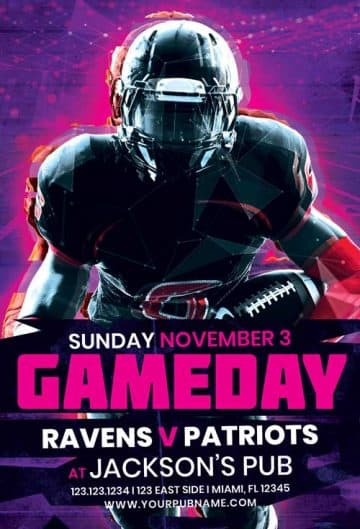 Football Game Day Free PSD Flyer Template