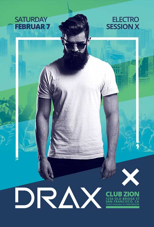 Free Club DJ Artist Poster and Flyer Template
