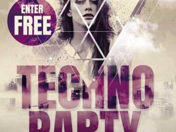 Free Entry Techno Party Flyer Template