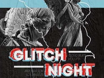 Free Glitch Night Party PSD Flyer Template