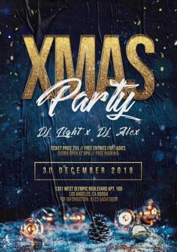 Free Merry X-Mas Party Event Flyer Template