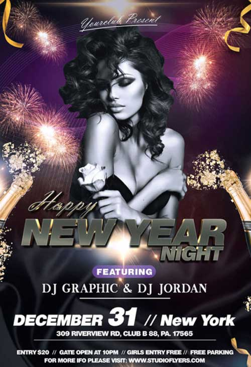 Happy New Year Night Free Flyer Template