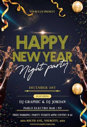Happy New Year Night Party Free Flyer Template