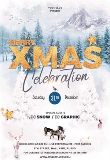 Merry X-Mas Celebration Free Flyer Template